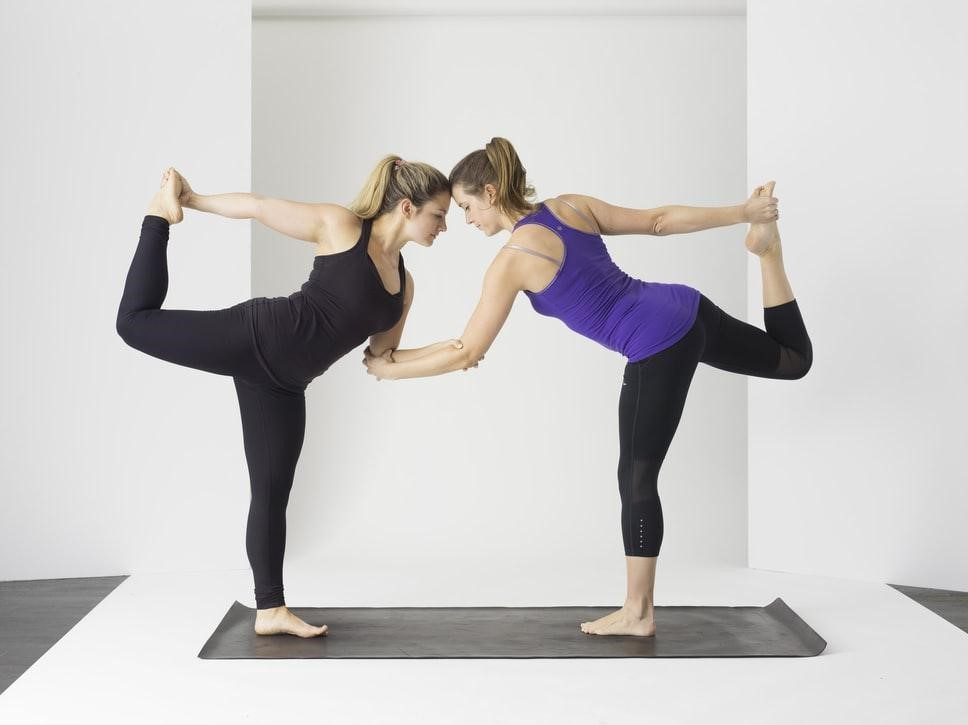 Girls doing yoga